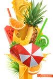 Chapoteo del jugo y de las frutas tropicales dulces Vector del cóctel 3d del verano ilustración del vector