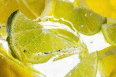 Chapoteo del limón y de la cal de la fruta cítrica fotografía de archivo libre de regalías