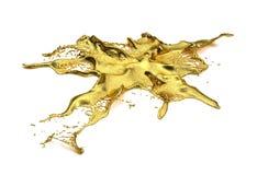 Chapoteo del oro de Liguid Imagen de archivo