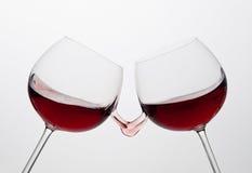 Chapoteo del vino rojo Fotos de archivo