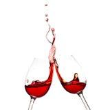 Chapoteo del vino rojo Imagenes de archivo