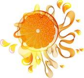 Chapoteo del zumo de naranja sobre blanco Fotografía de archivo libre de regalías
