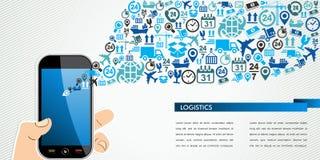 Chapoteo humano móvil de los iconos de la mano de la logística del envío. Fotos de archivo