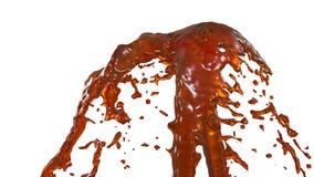 Chapoteo líquido anaranjado de la fuente hermosa, fuente 3d en el fondo blanco con mate alfa La corriente del jugo está subiendo  ilustración del vector