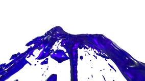 Chapoteo líquido azul de la fuente hermosa, fuente 3d en el fondo blanco con mate alfa La corriente del jugo está subiendo arriba ilustración del vector