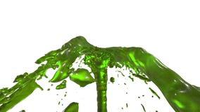 Chapoteo líquido del verde hermoso de la fuente, fuente 3d en el fondo blanco con mate alfa Las corrientes del jugo están subiend ilustración del vector