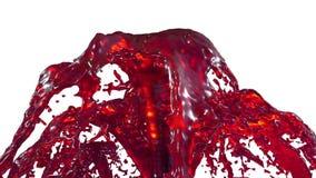 Chapoteo líquido rojo de la fuente hermosa, fuente 3d en el fondo blanco con mate alfa Muchas corrientes del jugo que suben arrib libre illustration