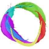 Chapoteo multicolor de la pintura Foto de archivo