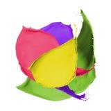Chapoteo multicolor de la pintura Fotos de archivo