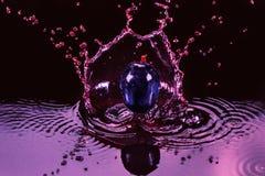 Chapoteo rojo del jugo o del vino con el primer de la baya de la uva Fotografía de archivo