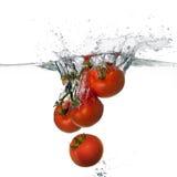 Chapoteo rojo fresco de los tomates en agua en el fondo blanco Fotografía de archivo libre de regalías