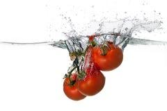 Chapoteo rojo fresco de los tomates en agua en el fondo blanco Fotografía de archivo