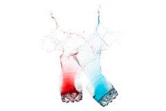 Chapoteo rojo y azul del color Imagen de archivo
