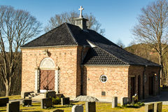The chappel of Tistedal church. Tistedal church is a church from 1865 in Halden, Østfold county Royalty Free Stock Photos
