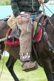 Chaps closeup in Ecuador. June 3, 2017 Machachi, Ecuador: traditional chaps detail worn by a cowboy on horseback stock photo