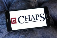 Chaps clothing brand logo. Logo of chaps clothing brand on samsung mobile. chaps is a clothing company royalty free stock photo