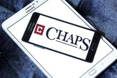 Chaps clothing brand logo. Logo of chaps clothing brand on samsung mobile. chaps is a clothing company royalty free stock photography