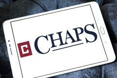 Chaps clothing brand logo. Logo of chaps clothing brand on samsung tablet. chaps is a clothing company royalty free stock images