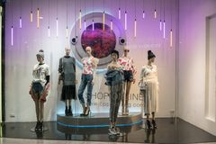 CHAPS shop at Emquatier, Bangkok, Thailand, Nov 17, 2017. Fashionable brand window display. Standing models in various clothings style royalty free stock images