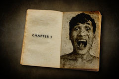 Chapter 1,Death Diary. Old Diary  With Haunted Faced Stock Photo