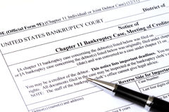 Chapter 11 Bankruptcy application Stock Images