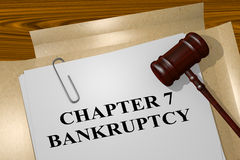 Chapter 7 Bankruptcy concept. 3D illustration of CHAPTER 7 BANKRUPTCY title on legal document vector illustration