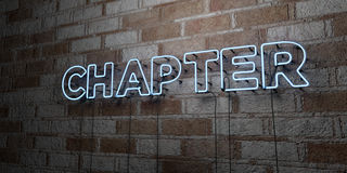 CHAPTER - Glowing Neon Sign on stonework wall - 3D rendered royalty free stock illustration Stock Image