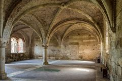 The chapter house of the Abbey of San Galgano stock photography
