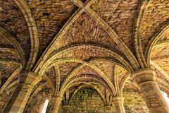 Chapter House Ceiling, Buildwas Abbey, Shropshire, England. The ceiling of the magnificent vaulted Chapter House at the famous Buildwas Abbey in Shropshire Royalty Free Stock Images