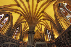 Chapter House Roof. The Chapter House in Lichfield Cathedral is a magnificent example of thirteenth century church architecture stock image