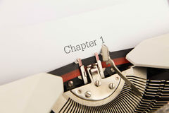 Chapter 1. Printed on a clean sheet to the typewriter royalty free stock images