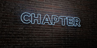CHAPTER -Realistic Neon Sign on Brick Wall background - 3D rendered royalty free stock image Stock Photo
