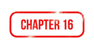 Chapter 16 - red grunge rubber, stamp.  Stock Photography