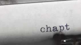 Chapter 4. Typed on an old vintage typewriter. Close-u stock footage