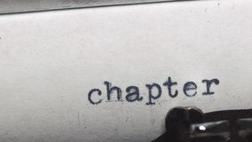 Chapter 4. Typed on an old vintage typewriter. Close-up stock footage
