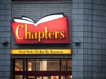 Chapters logo in front of their local bookstore park in Ottawa, Ontario. OTTAWA, CANADA - NOVEMBER 10, 2018: Belonging to Indigo, Chapters is a Canadian big box stock photo