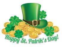 Chapéu e moedas St Patrick Fotos de Stock