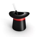 Chapéu e varinha mágicos do cilindro no fundo branco Fotografia de Stock
