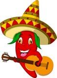 Chapéu mexicano vermelho e bigode de Chili Pepper Cartoon Character With que jogam uma guitarra Imagens de Stock Royalty Free