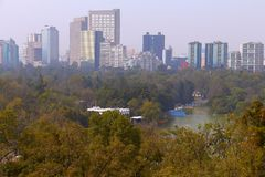 Chapultepec aerial II. Aerial view of the chapultepec park, mexico city, mexico Stock Photos