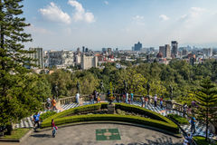 Chapultepec Castle Terrace Gardens View with city skyline  - Mexico City, Mexico Stock Photos