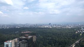 An aerial view of Chapultepec Forest in Polanco, Mexico City. Chapultepec Forest Bosque de Chapultepec and Official Residence of Los Pinos stock footage