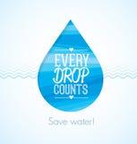 Chaque baisse compte l'illustration créative propre de l'eau écologique d'économies illustration stock