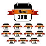 Chaque mois des icônes de l'année 2018 Ruban orange de gradient, calendrier noir et blanc illustration libre de droits