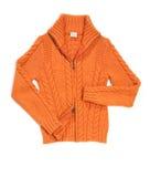 Chaqueta anaranjada de la señora de las lanas Imagenes de archivo