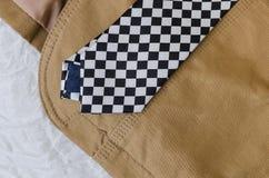 Chaqueta de la moda de Brown con la corbata blanco y negro Imágenes de archivo libres de regalías