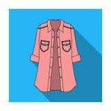 Chaqueta de las mujeres s con los botones y las mangas del cortocircuito Ropa de sport para la mujer elegante Icono de la ropa de libre illustration