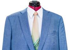 Chaqueta de seda azul con ascendente cercano de la camisa y del lazo Foto de archivo