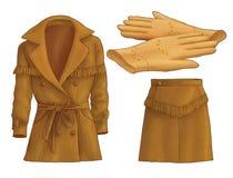 Chaqueta, falda y guantes Imágenes de archivo libres de regalías