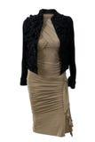 Chaqueta negra y vestido beige aislados fotos de archivo